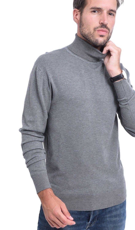 C&JO Turtleneck Elbow Patch Sweater in Grey