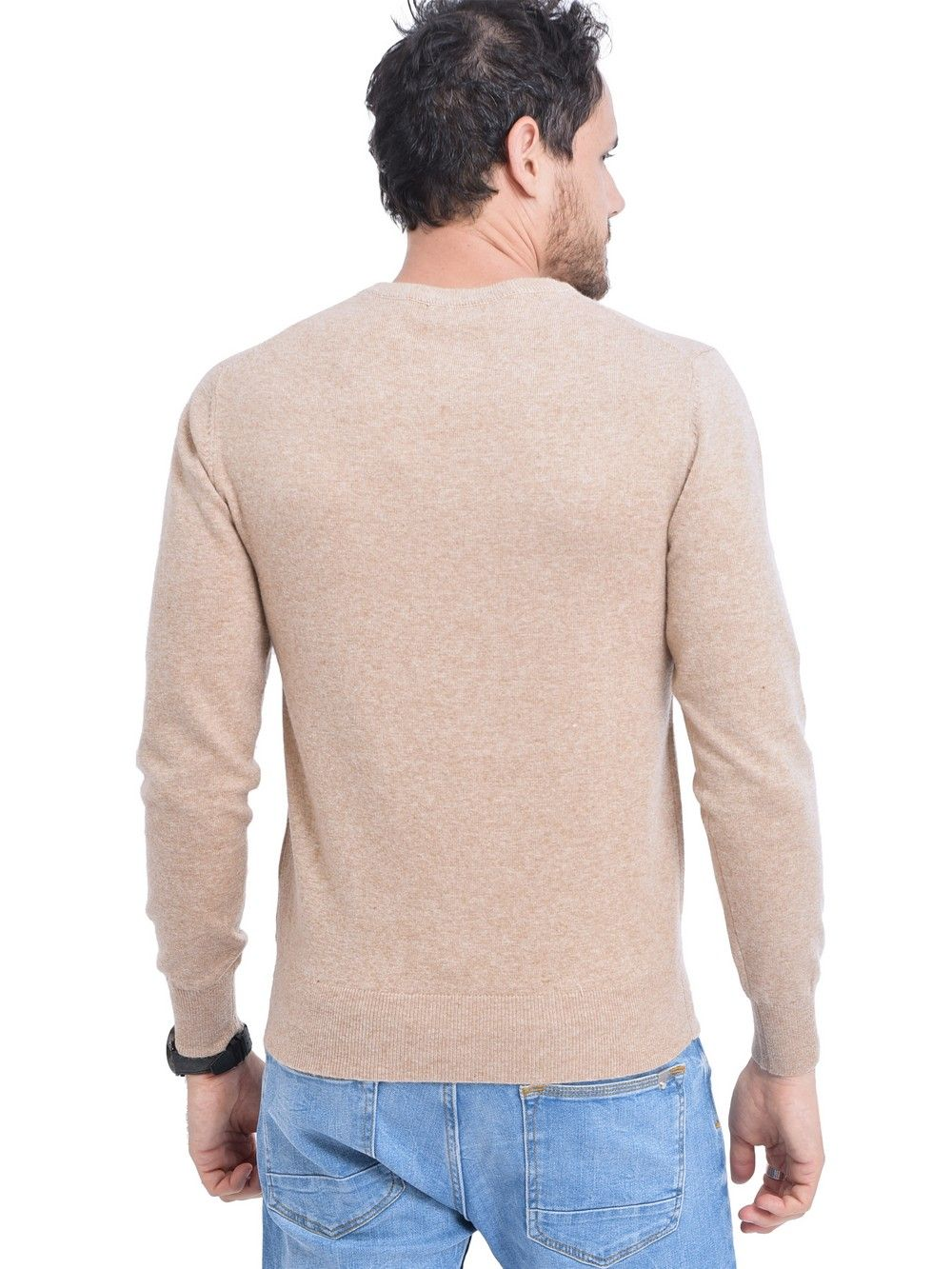 C&JO V-neck Sweater in Beige