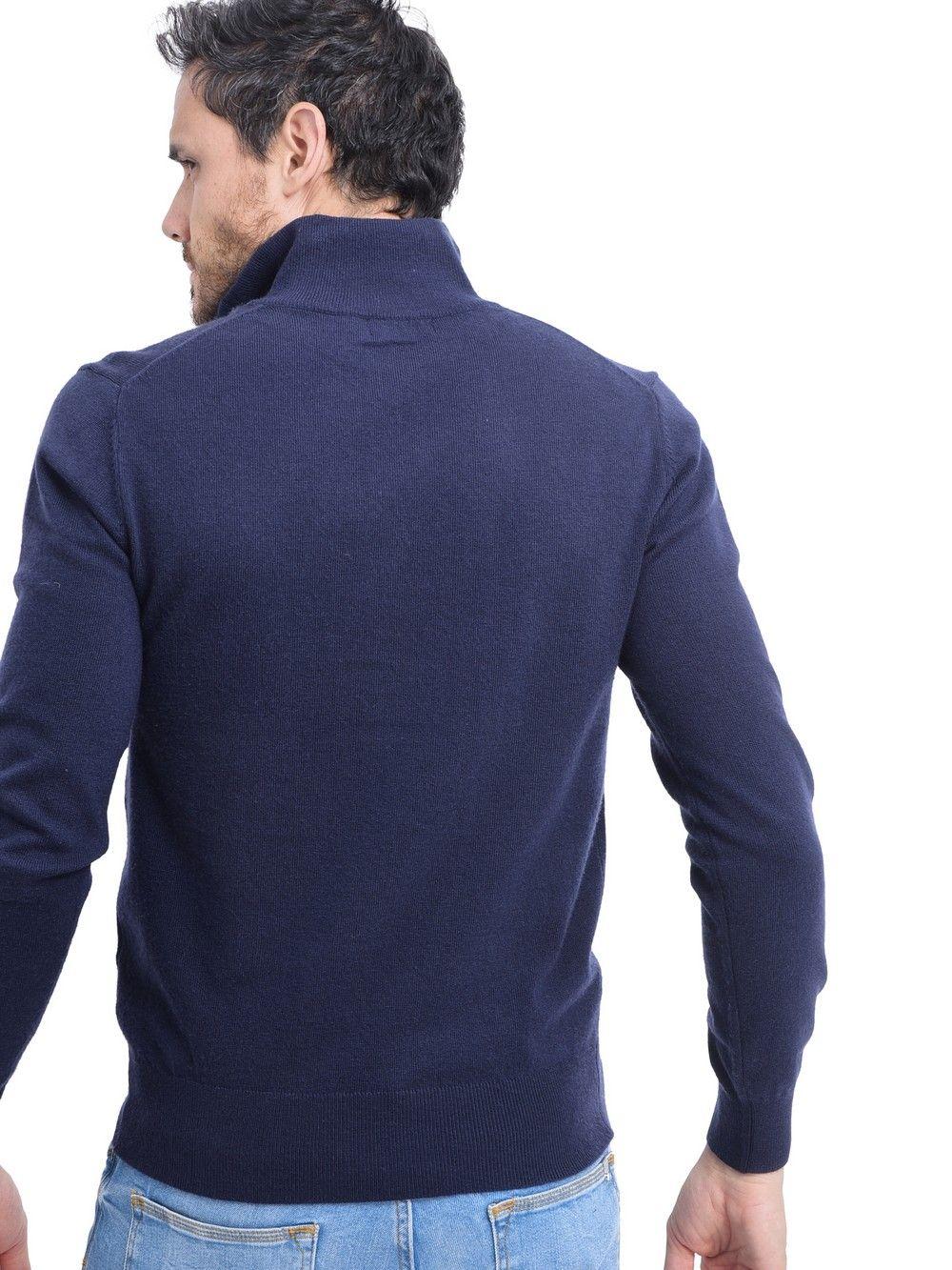 C&JO High Neck Half Zip Sweater with Leather Zip in Navy