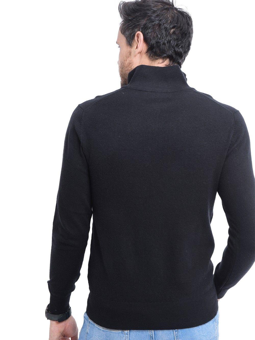 C&JO High Neck Half Zip Sweater with Leather Zip in Black