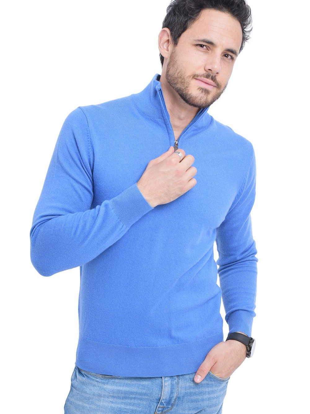 C&JO High Neck Half Zip Sweater with Leather Zip in Blue