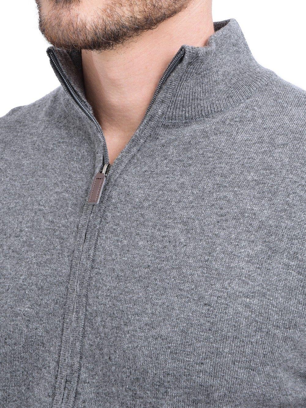 C&JO Zip Cardigan with Leather Zip in Grey