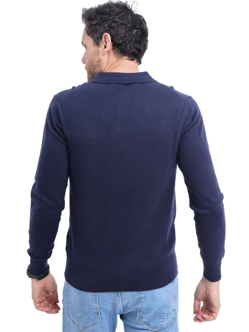 C&JO Polo Neck Button Up Sweater in Navy