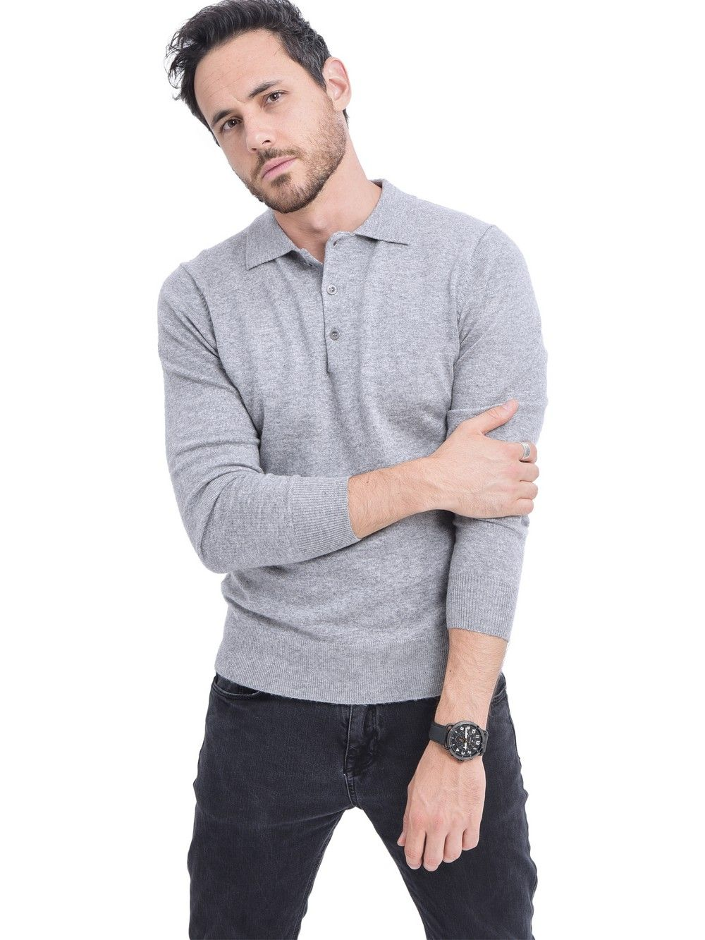 C&JO Polo Neck Button Up Sweater in Light Grey