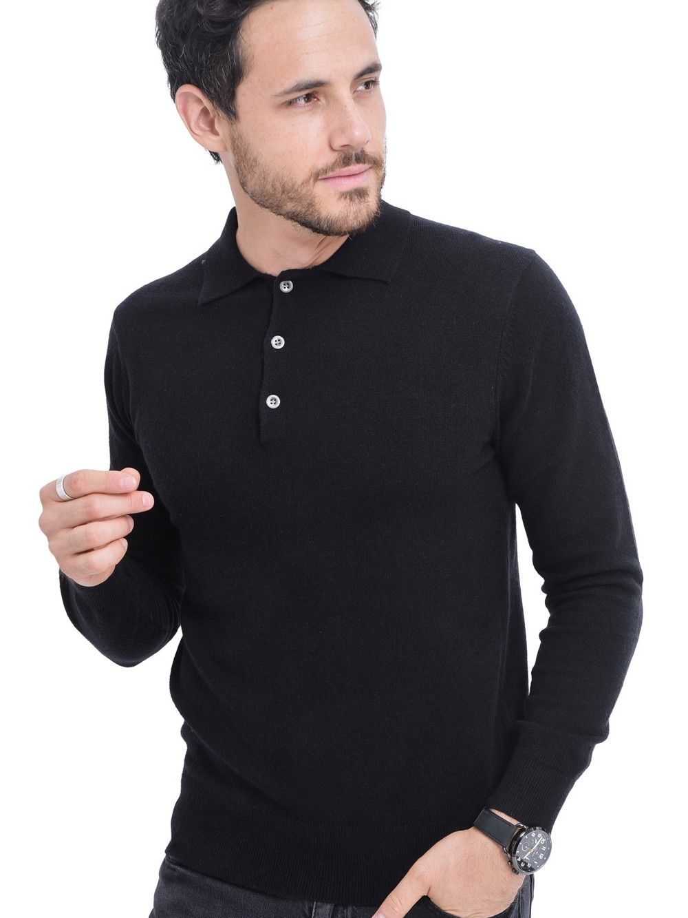 C&JO Polo Neck Button Up Sweater in Black