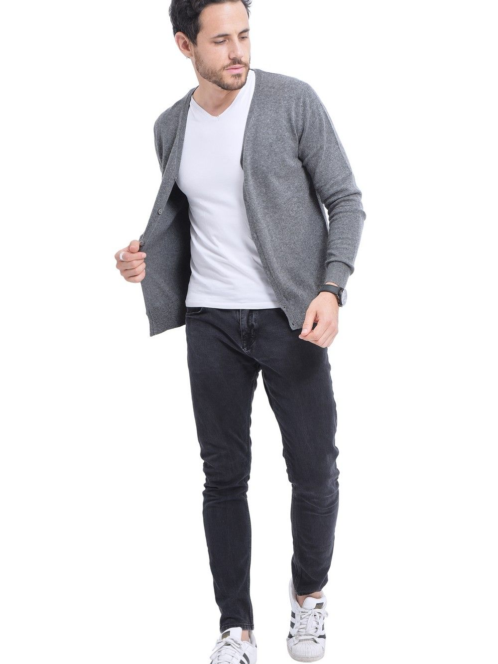 C&JO V-neck Buttoned Cardigan in Grey
