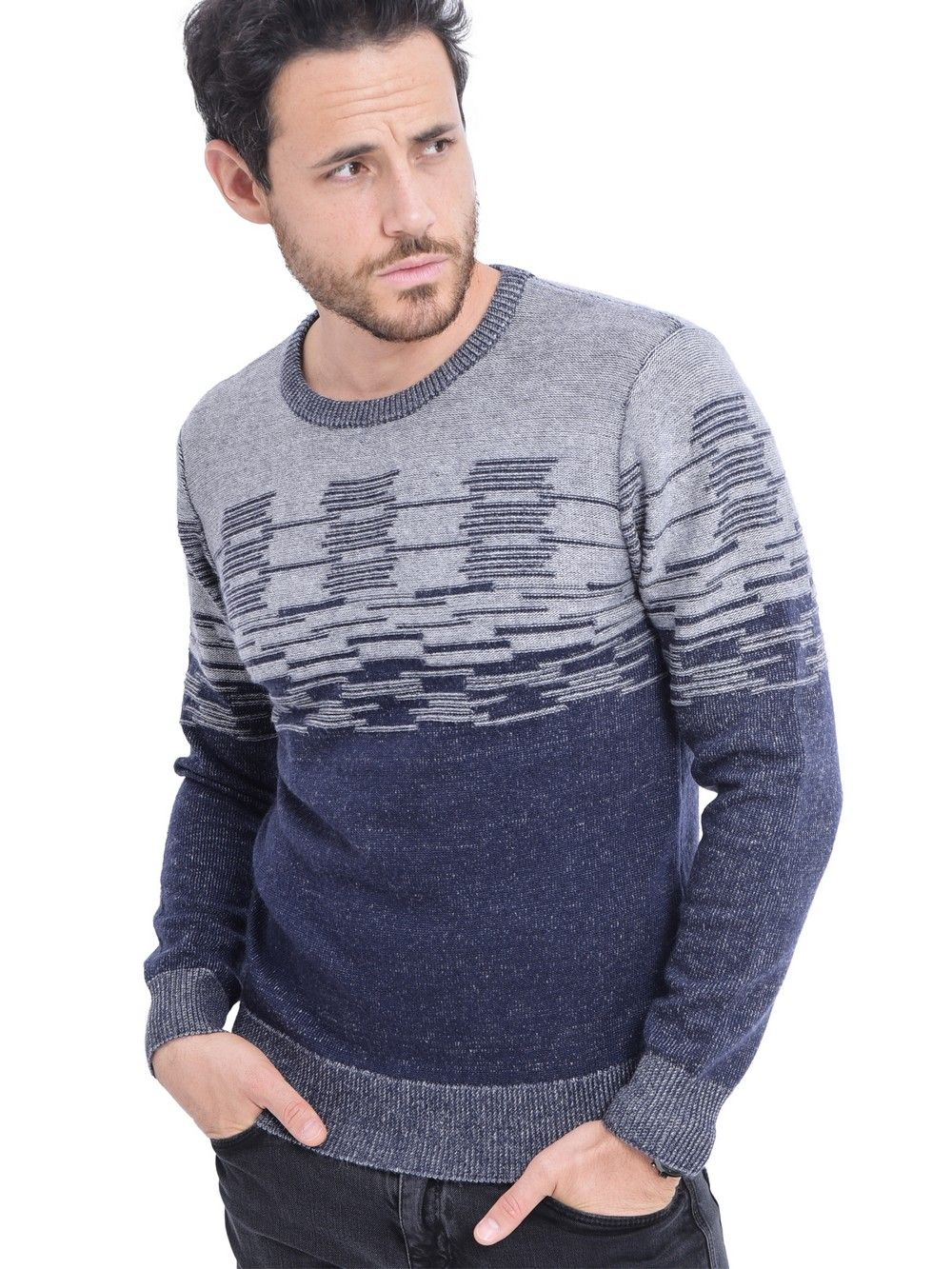 C&JO Round Neck 3-ply Jacquard Sweater in Navy