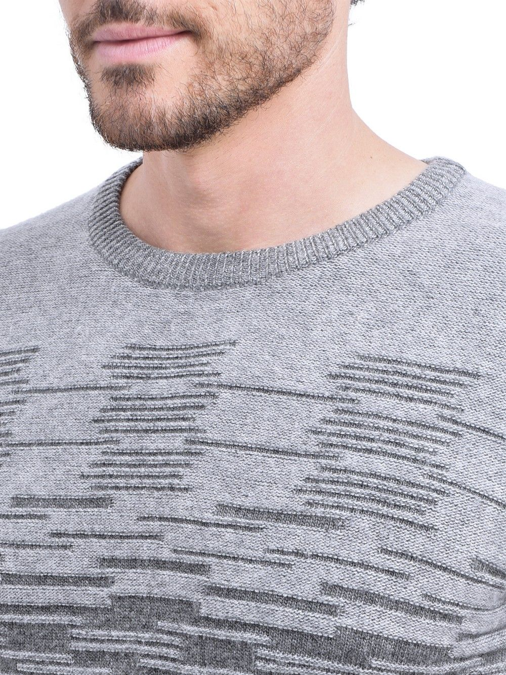 C&JO Round Neck 3-ply Jacquard Sweater in Grey
