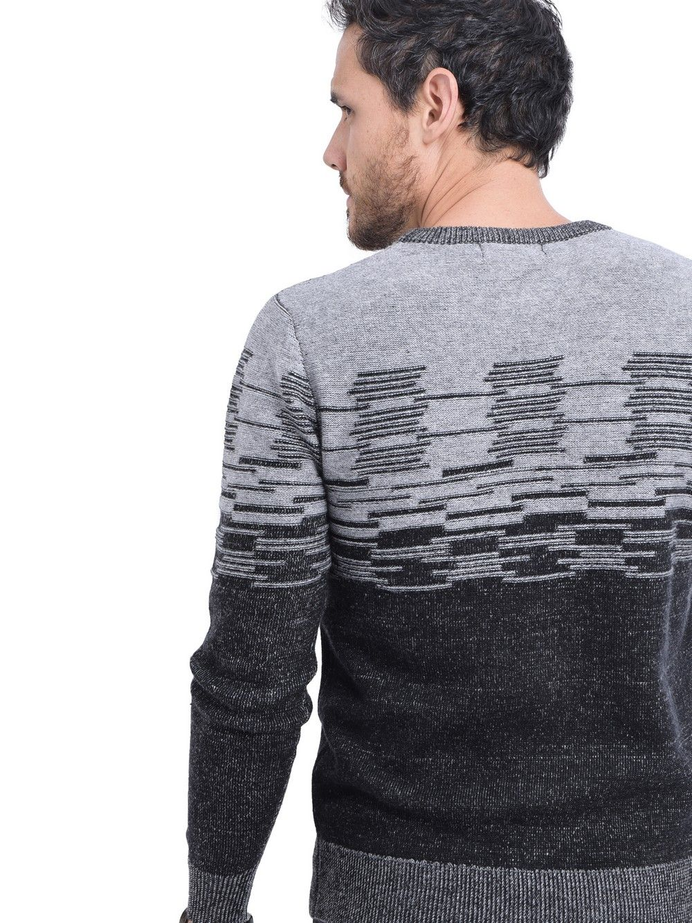 C&JO Round Neck 3-ply Jacquard Sweater in Black