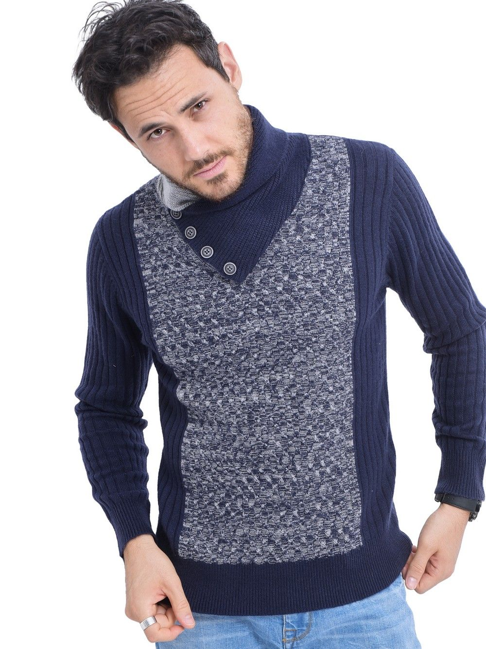 C&JO Shawl Collar Jacquard Sweater with Butons in Navy