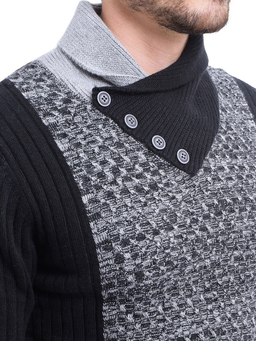 C&JO Shawl Collar Jacquard Sweater with Butons in Black