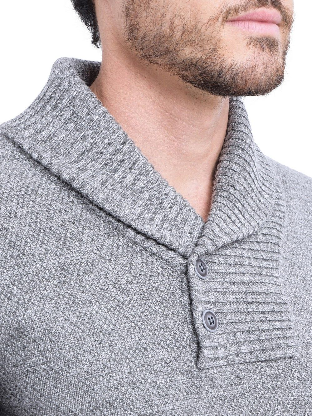 C&JO Shawl Collar Jacquard Sweater with Butons in Grey