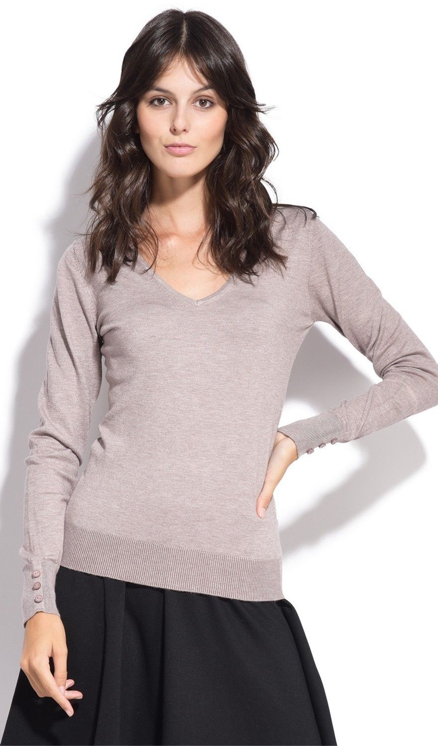 C&JO V-neck Sweater with Buttoned Sleeves in Beige