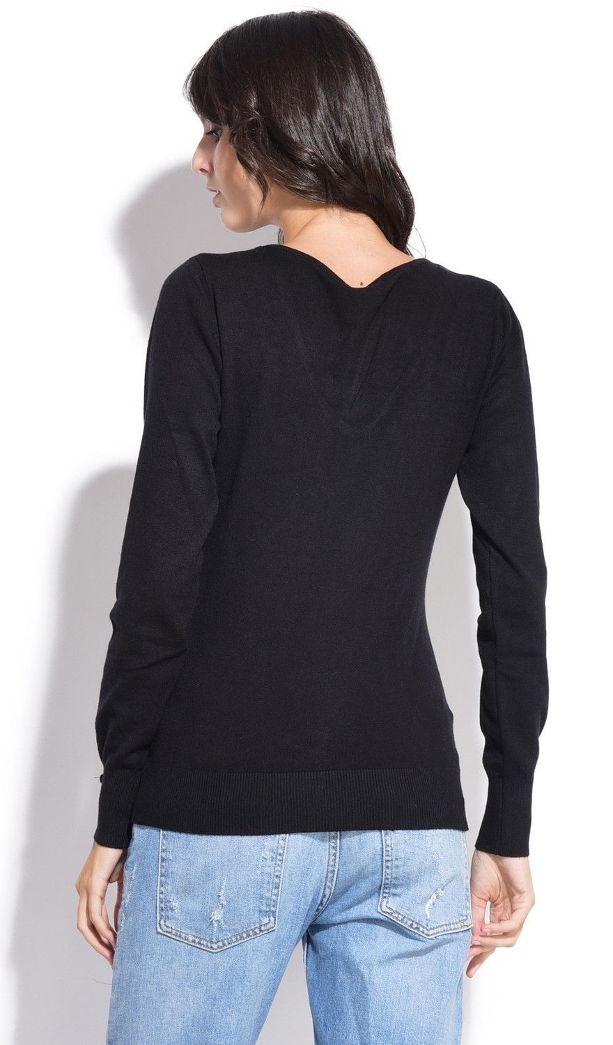 C&JO V-neck Sweater with Buttoned Sleeves in Black
