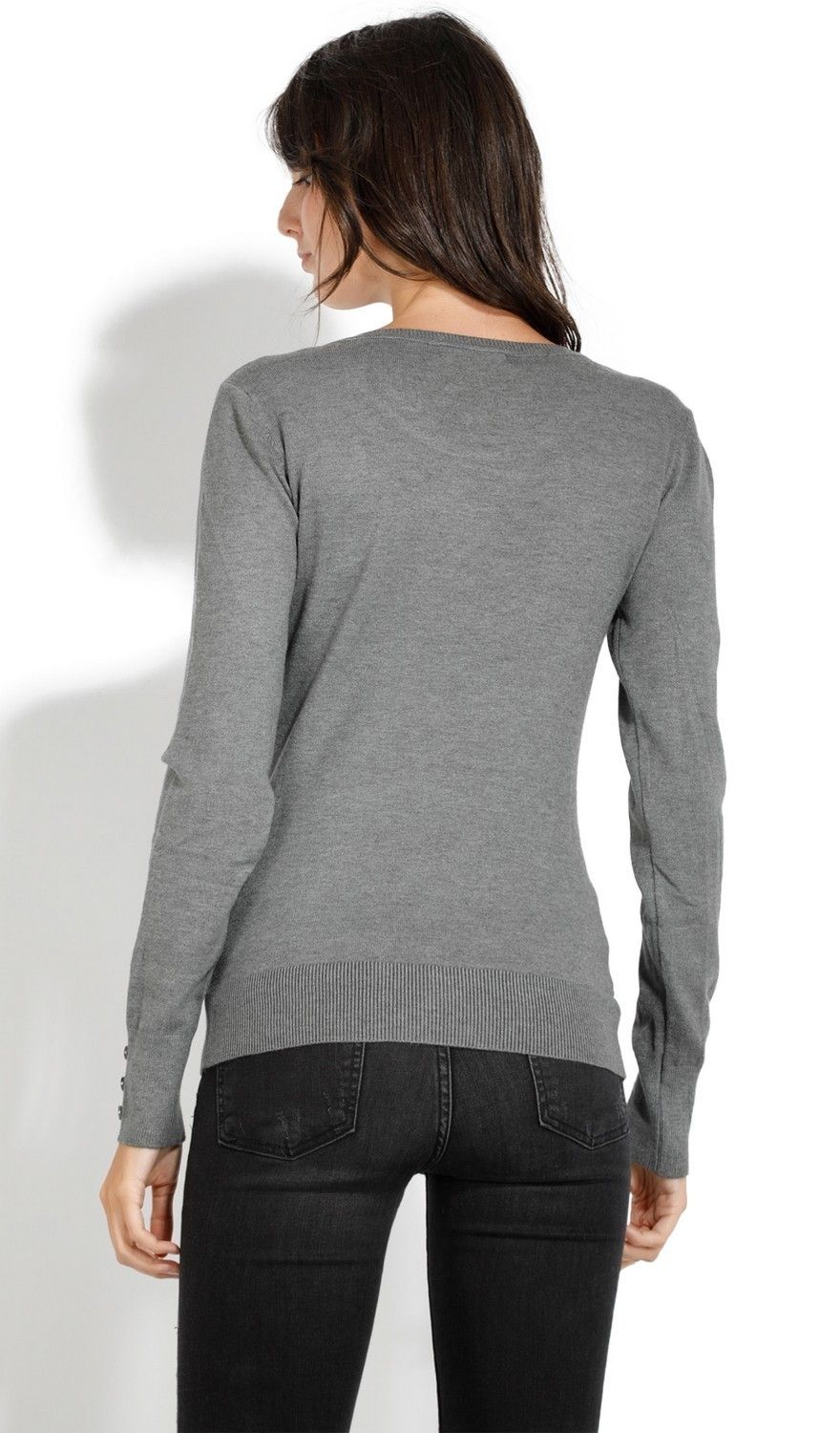 C&JO Round Neck Sweater with Buttoned Sleeves in Grey