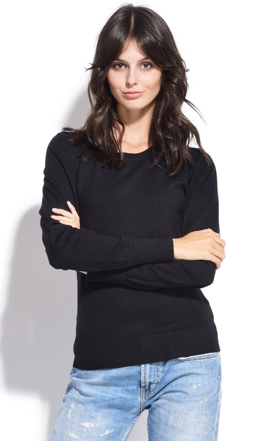 C&JO Round Neck Sweater with Buttoned Sleeves in Black