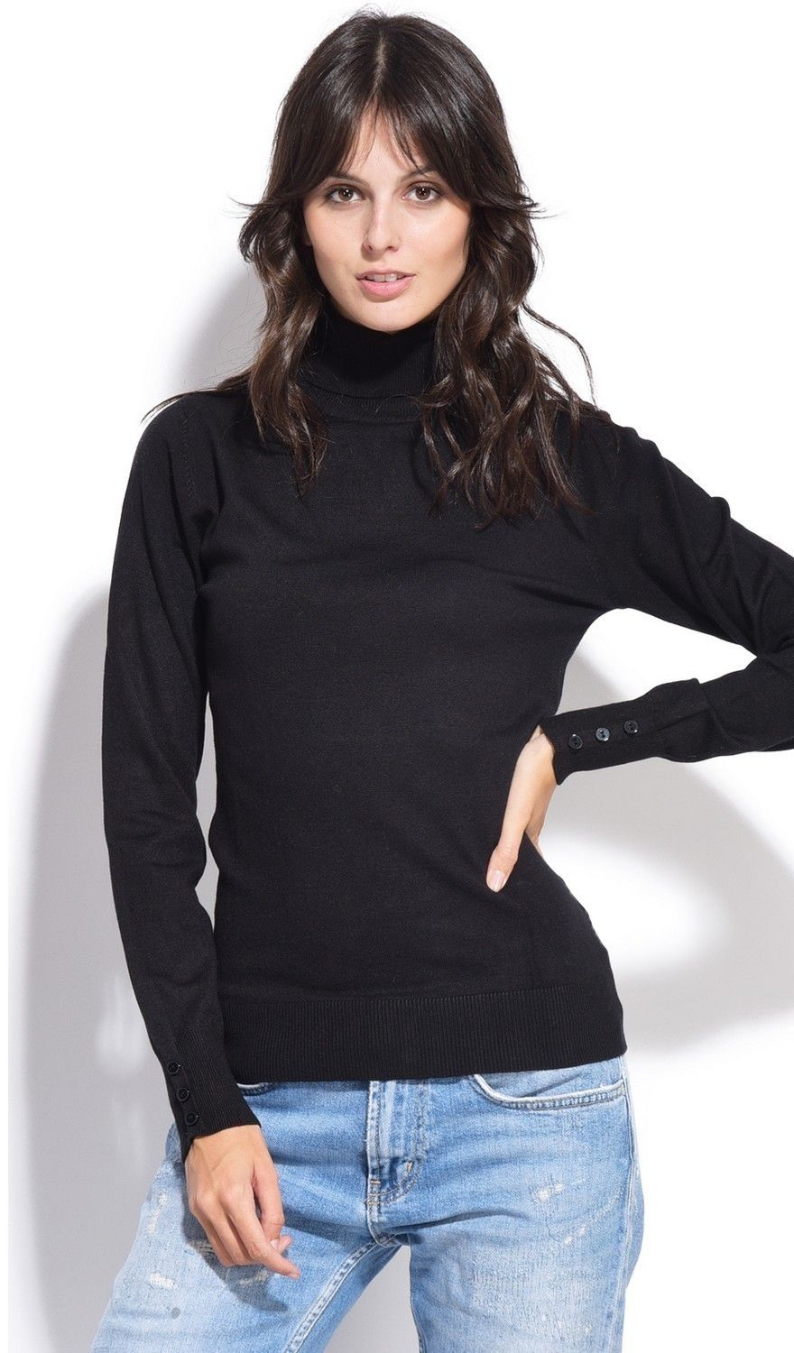C&JO Roll Neck Sweater with Buttoned Sleeves in Black