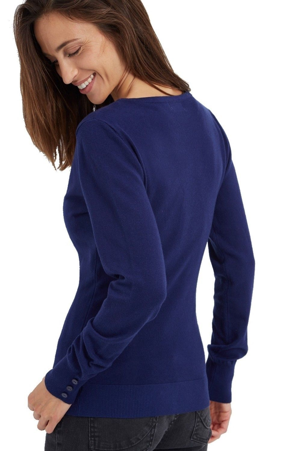 C&JO V-neck Cardigan with Buttoned Sleeves in Navy