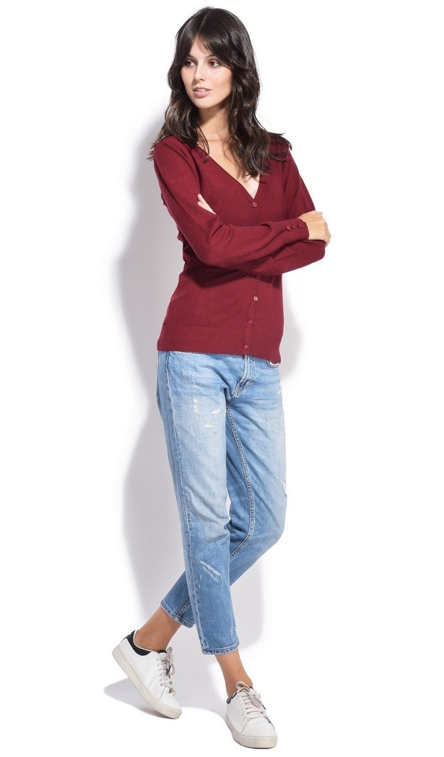 C&JO V-neck Cardigan with Buttoned Sleeves in Maroon