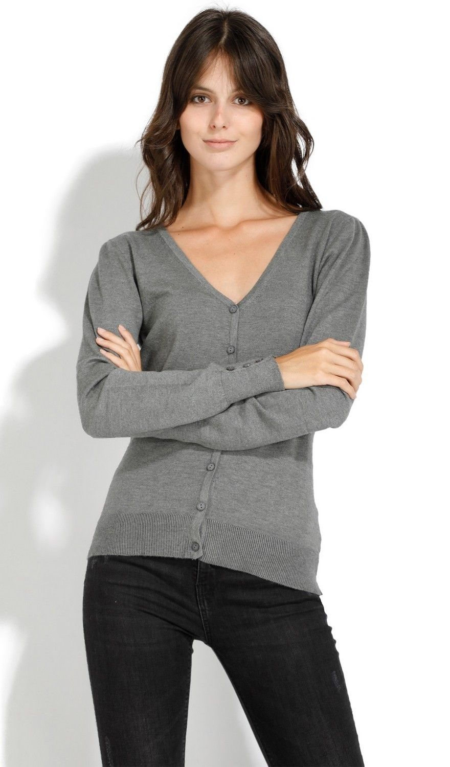 C&JO V-neck Cardigan with Buttoned Sleeves in Grey