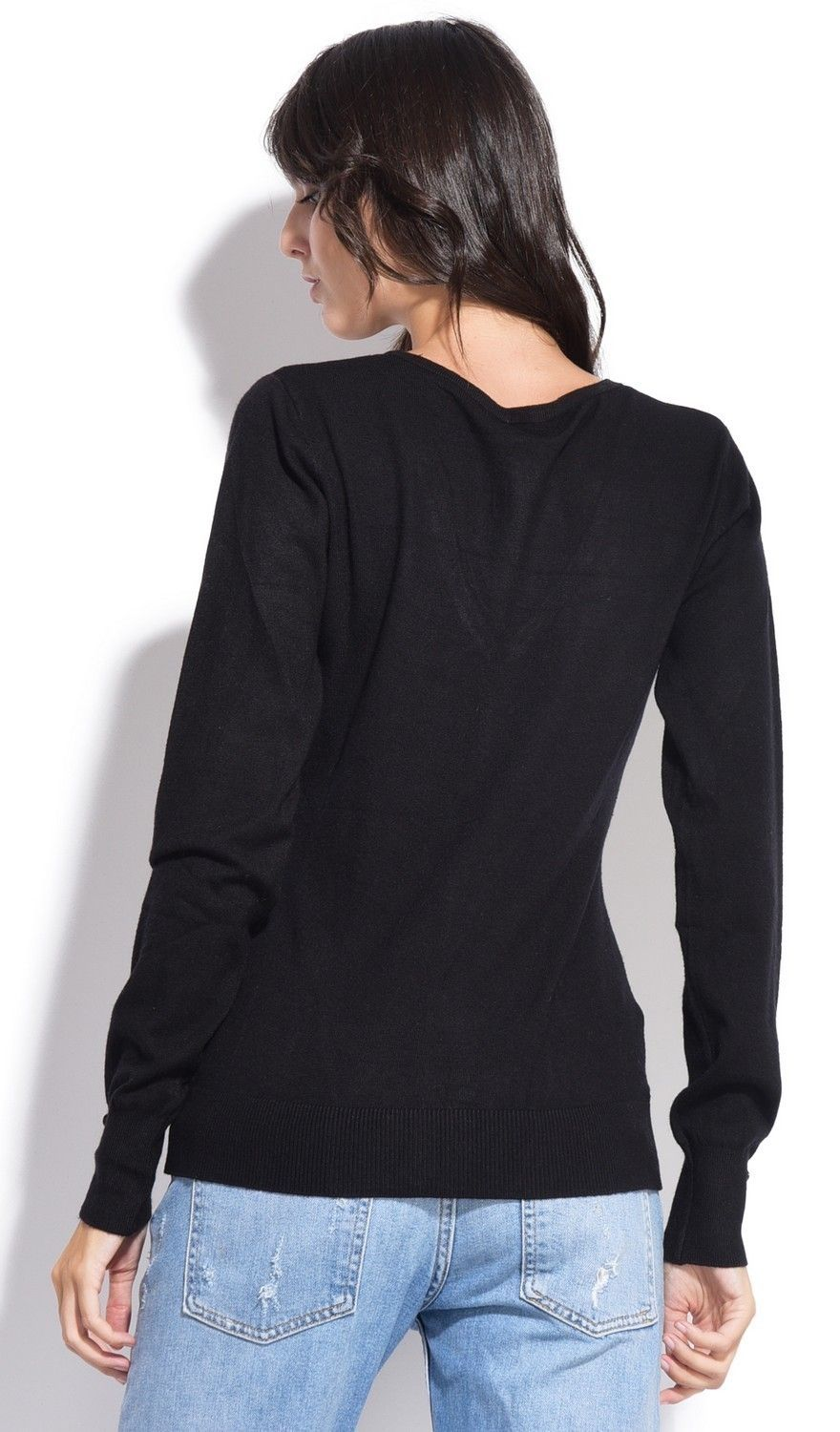 C&JO V-neck Cardigan with Buttoned Sleeves in Black