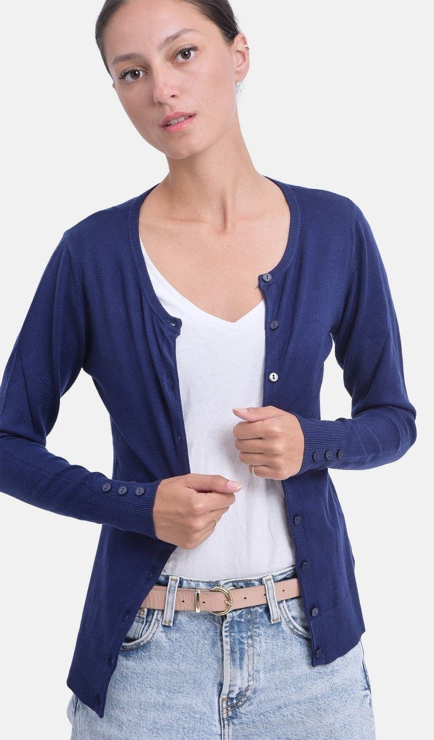 C&JO Round Neck Cardigan with Buttoned Sleeves in Navy