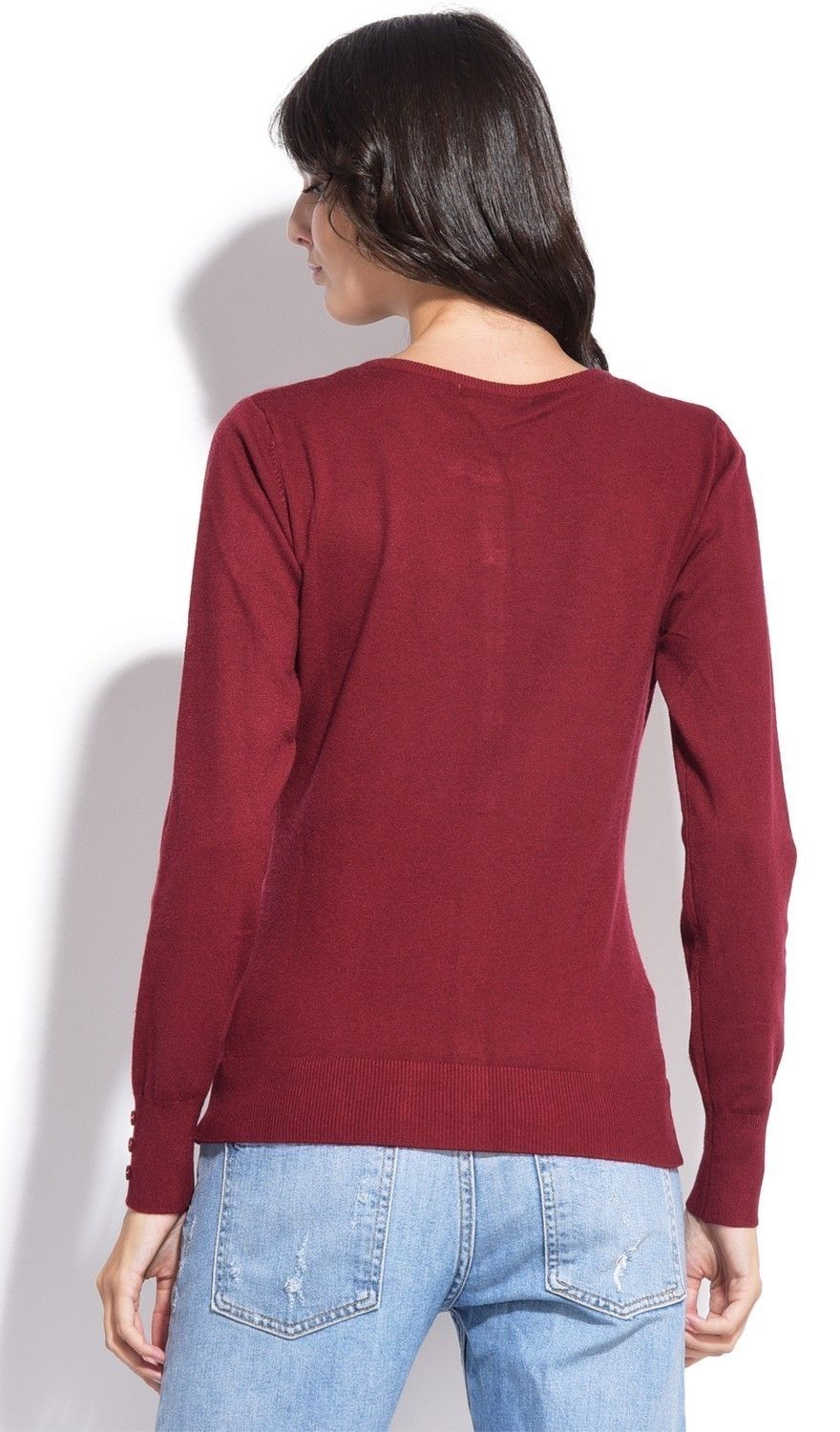 C&JO Round Neck Cardigan with Buttoned Sleeves in Maroon