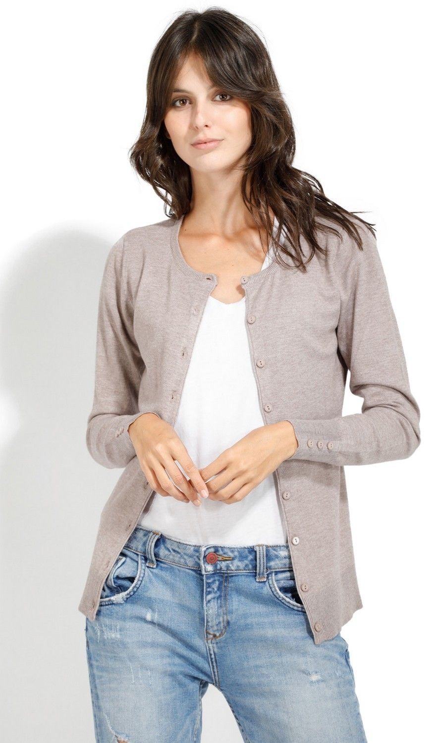 C&JO Round Neck Cardigan with Buttoned Sleeves in Beige