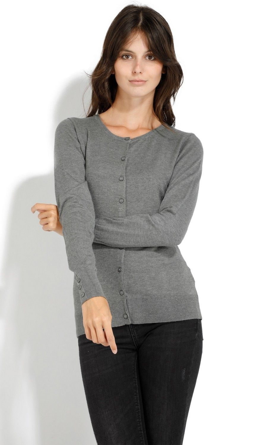 C&JO Round Neck Cardigan with Buttoned Sleeves in Grey