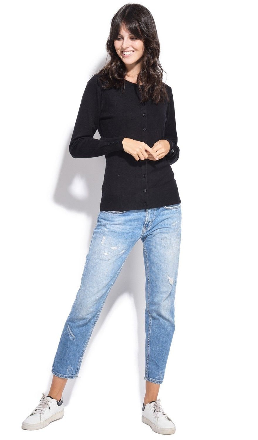 C&JO Round Neck Cardigan with Buttoned Sleeves in Black