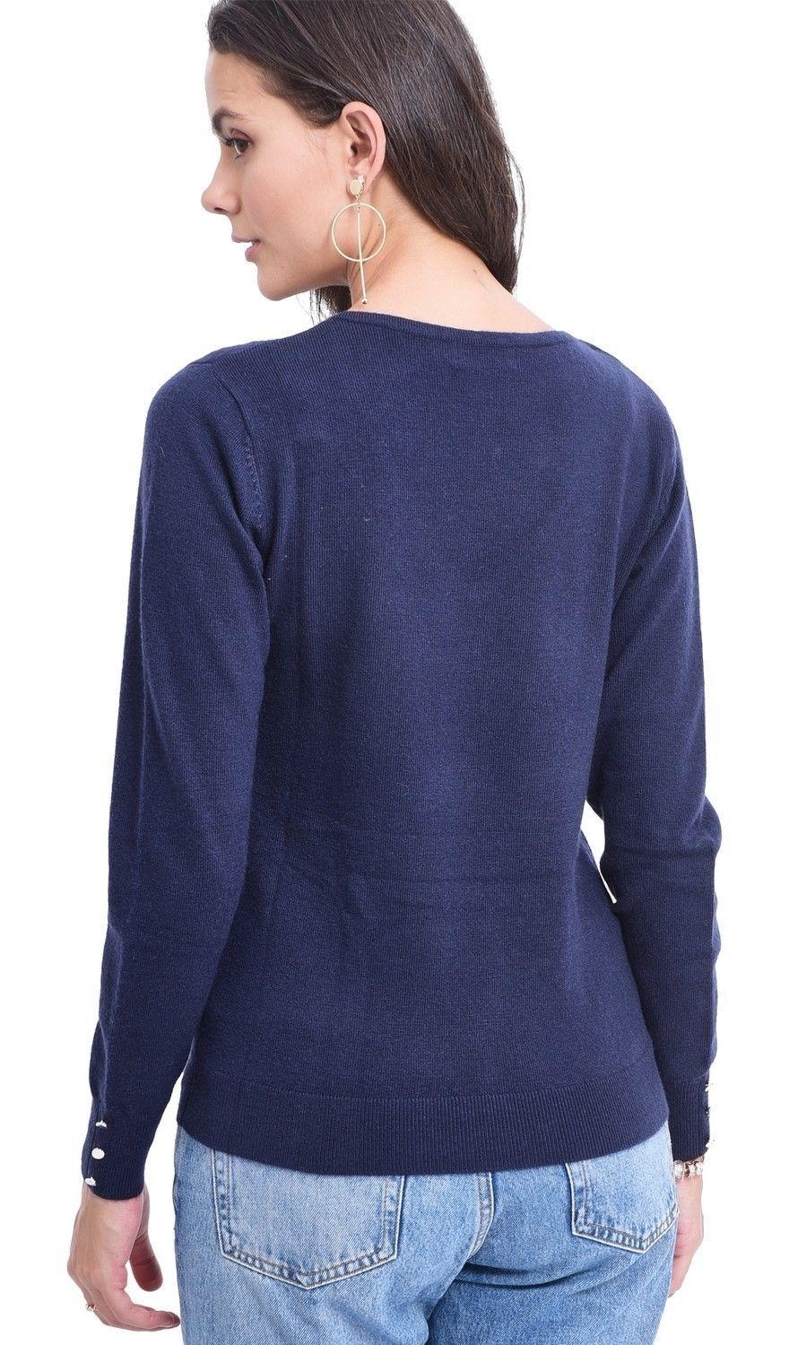 C&JO V-neck Sweater with Buttoned Sleeves in Navy