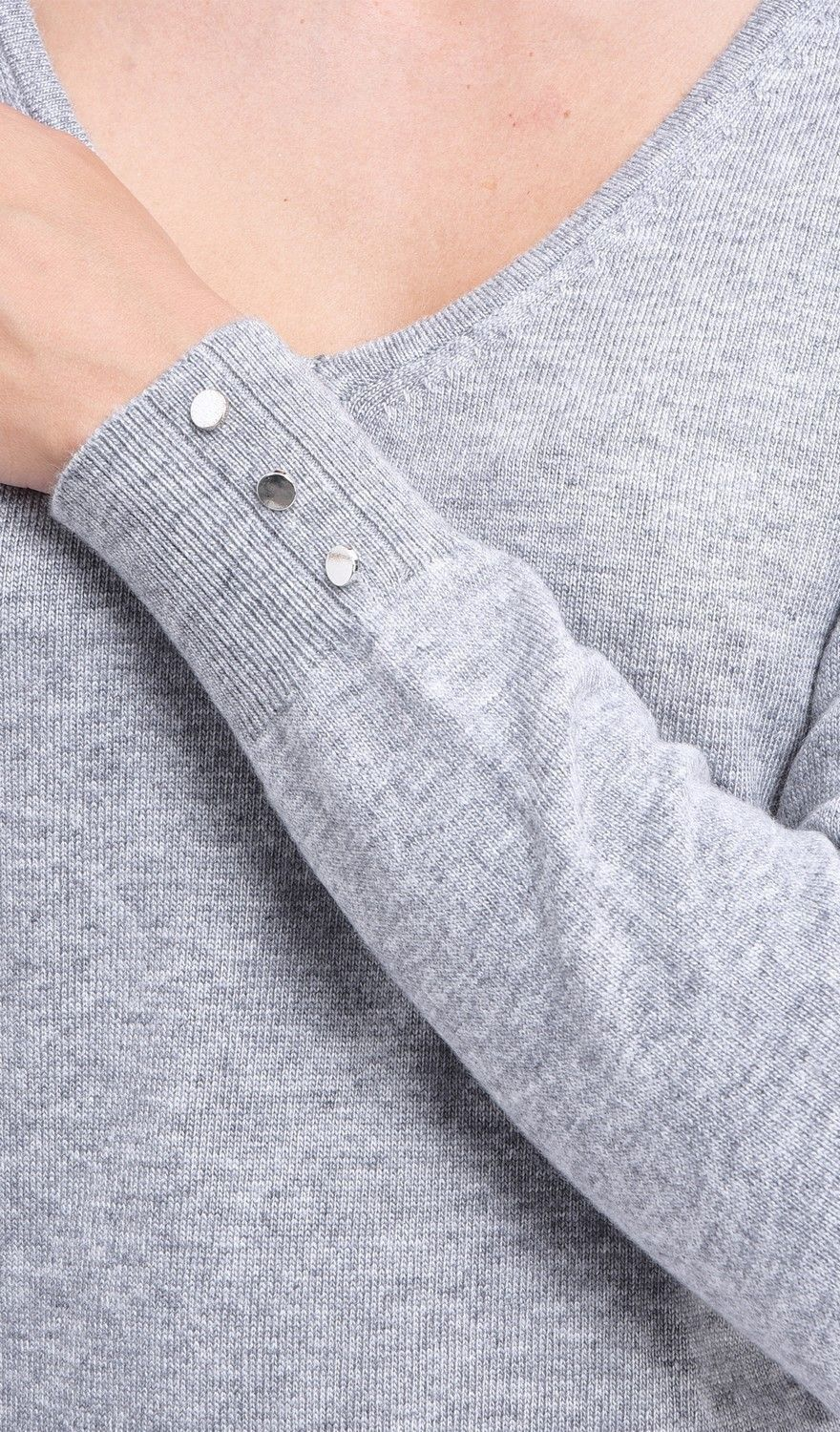 C&JO V-neck Sweater with Buttoned Sleeves in Light Grey