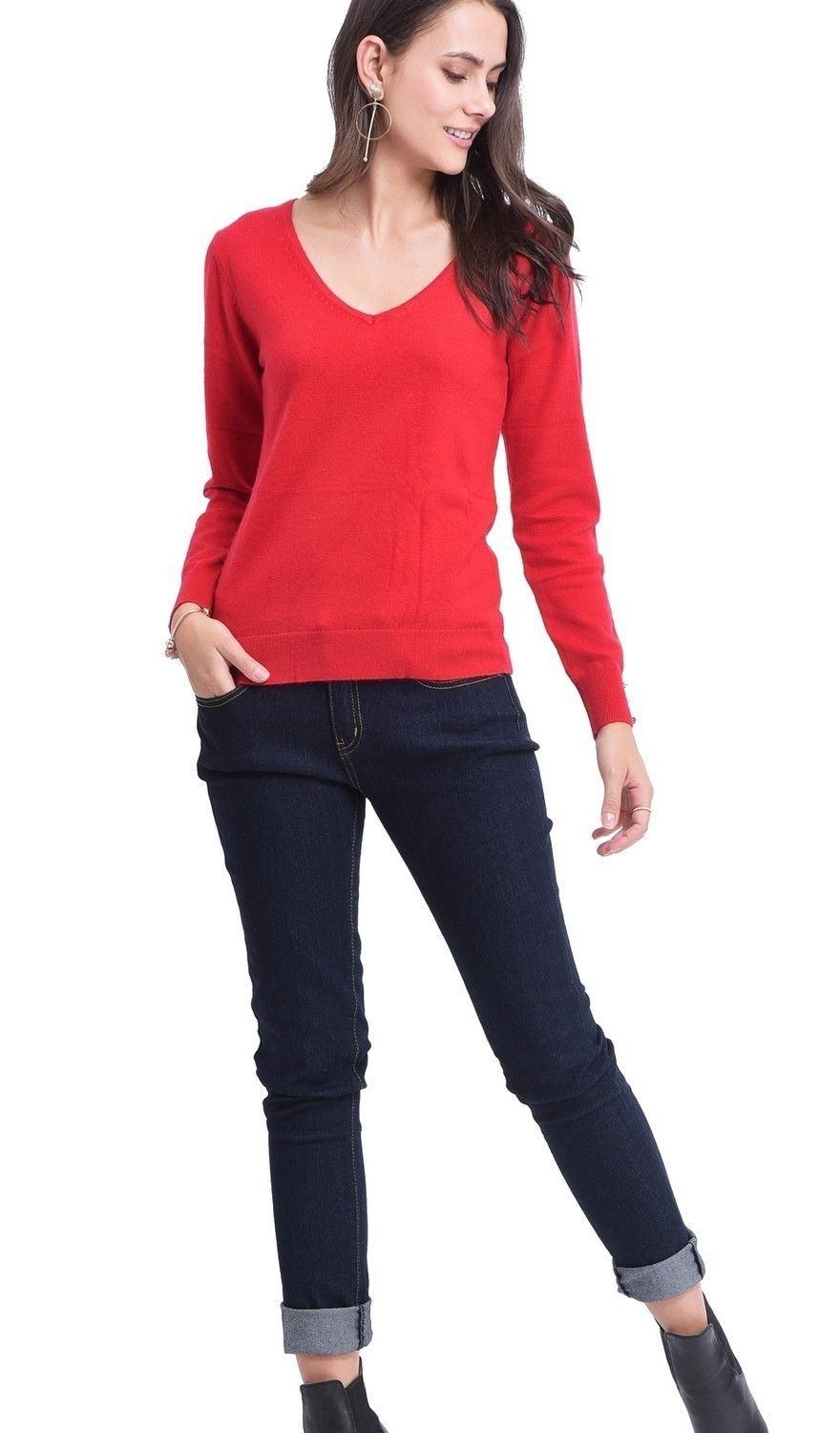 C&JO V-neck Sweater with Buttoned Sleeves in Red