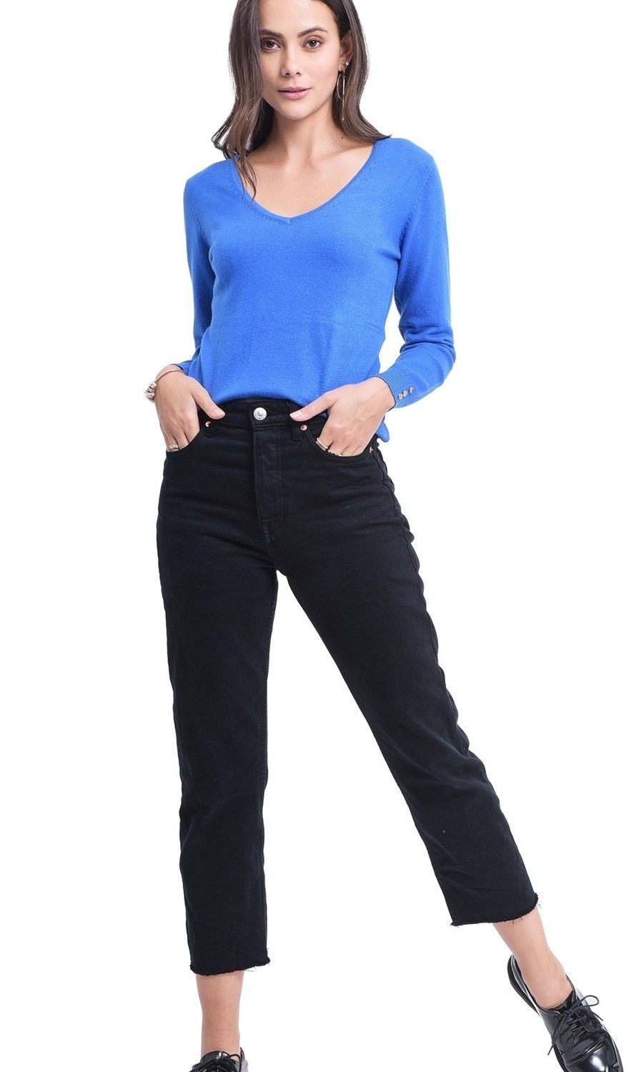 C&JO V-neck Sweater with Buttoned Sleeves in Blue