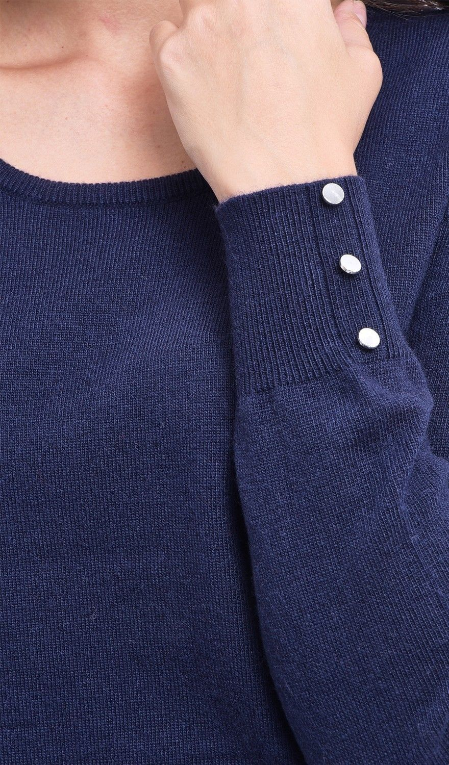 C&JO Round Neck Sweater with Buttoned Sleeves in Navy
