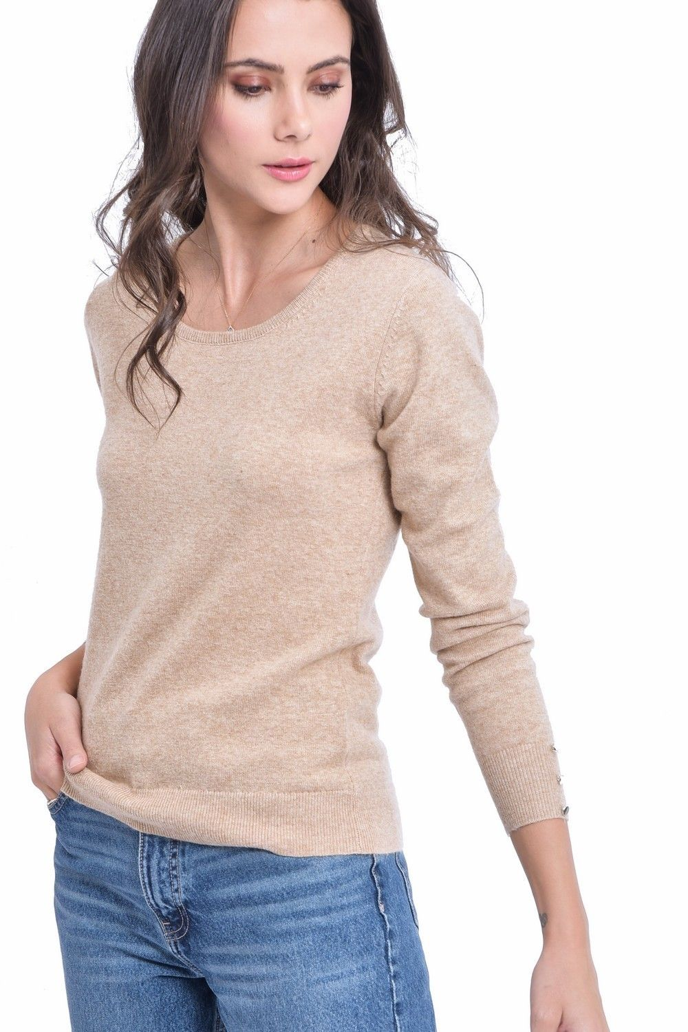 C&JO Round Neck Sweater with Buttoned Sleeves in Beige