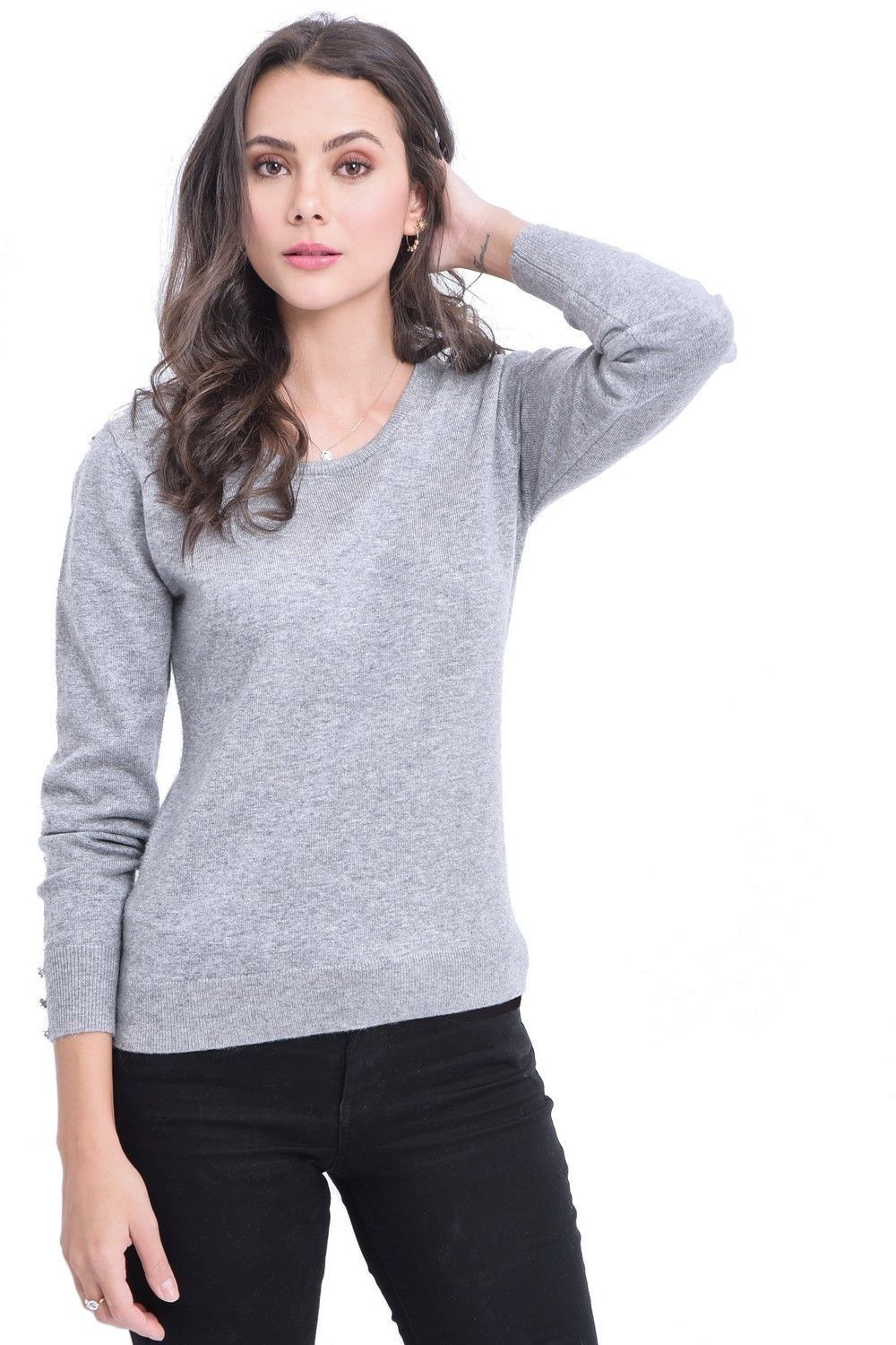C&JO Round Neck Sweater with Buttoned Sleeves in Light Grey