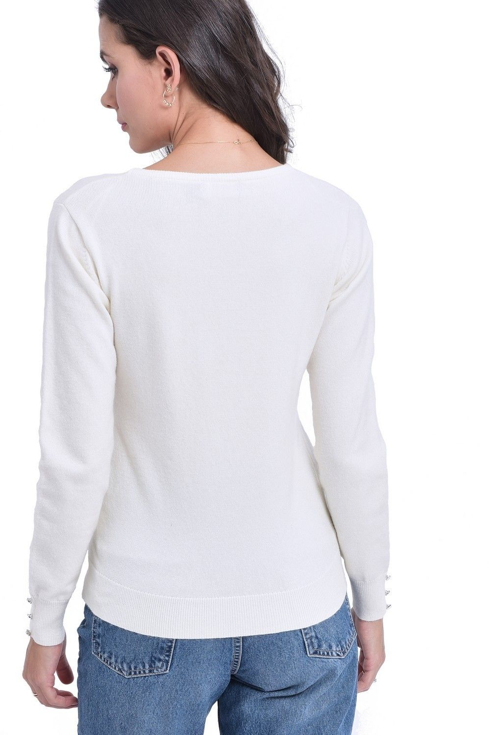 C&JO Round Neck Sweater with Buttoned Sleeves in Natural