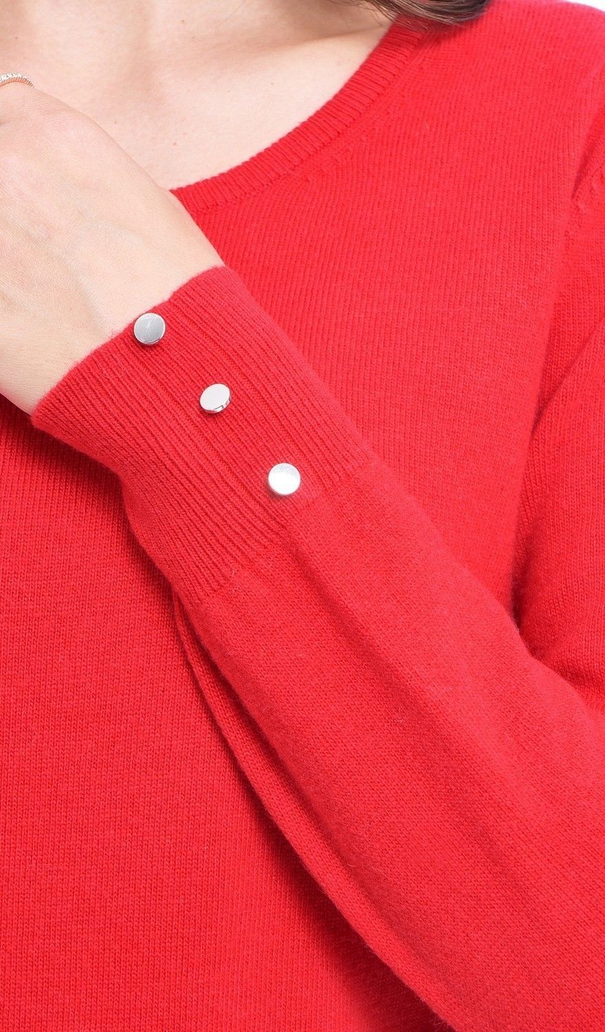C&JO Round Neck Sweater with Buttoned Sleeves in Red