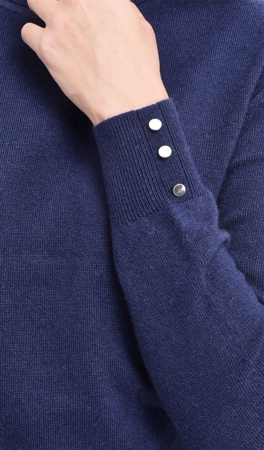 C&JO Turtleneck Sweater with Buttoned Sleeves in Navy