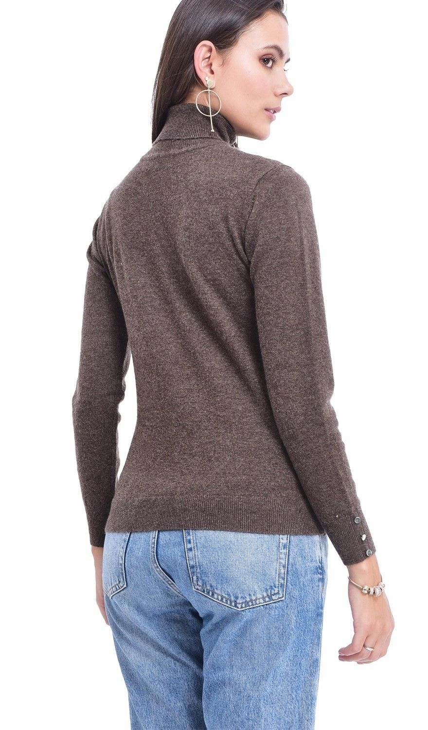 C&JO Turtleneck Sweater with Buttoned Sleeves in Brown