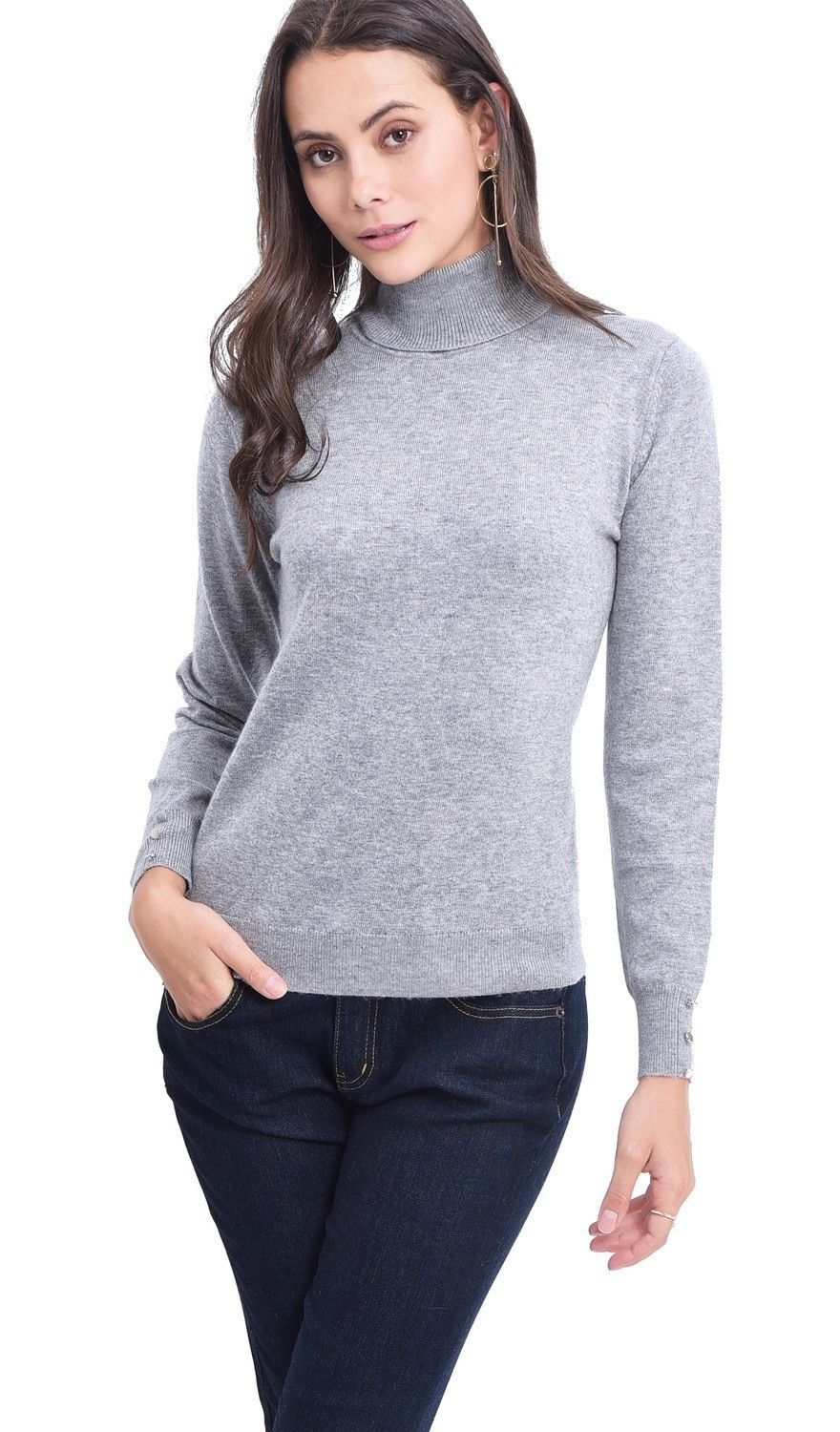 C&JO Turtleneck Sweater with Buttoned Sleeves in Light Grey