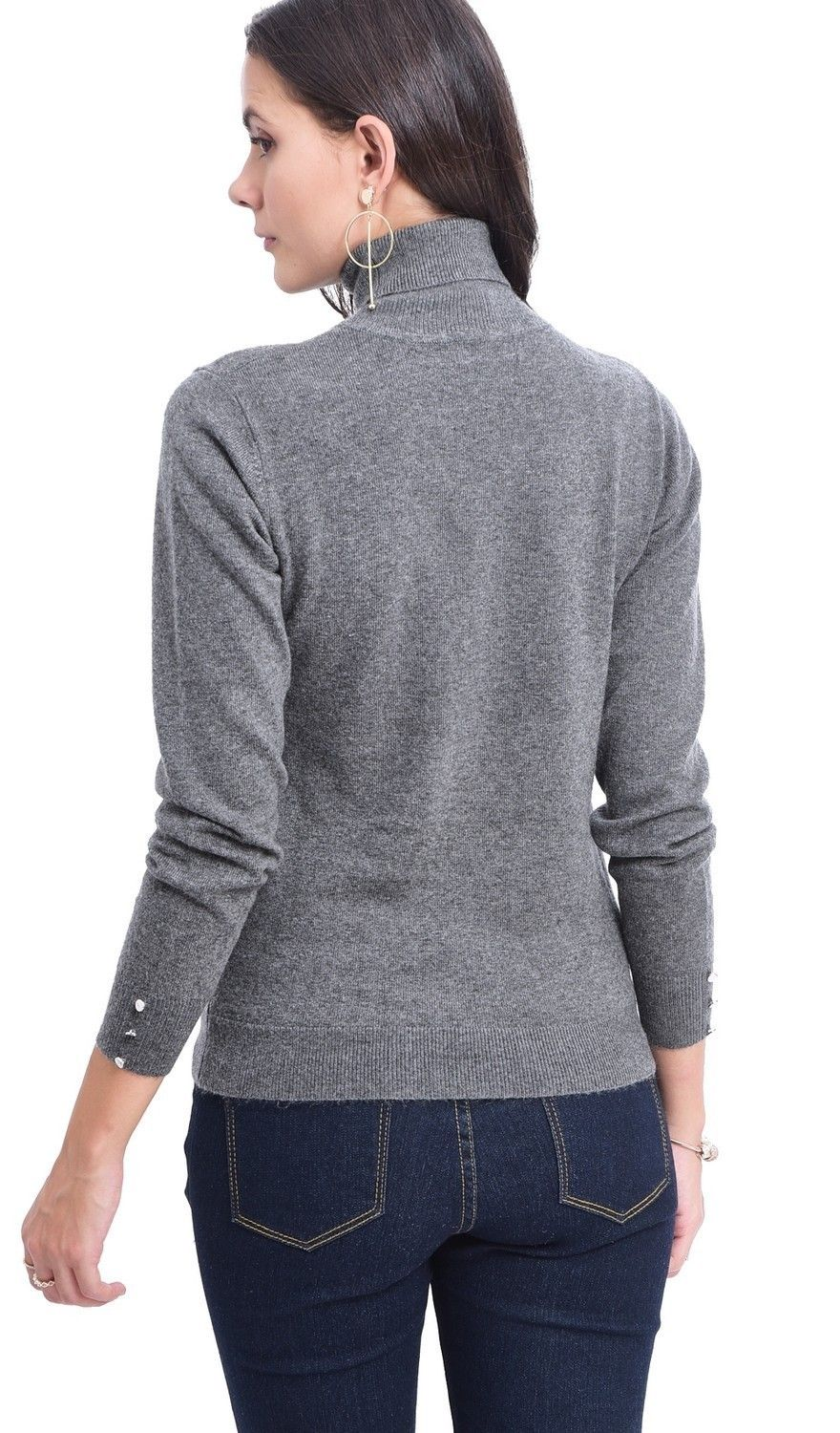 C&JO Turtleneck Sweater with Buttoned Sleeves in Grey