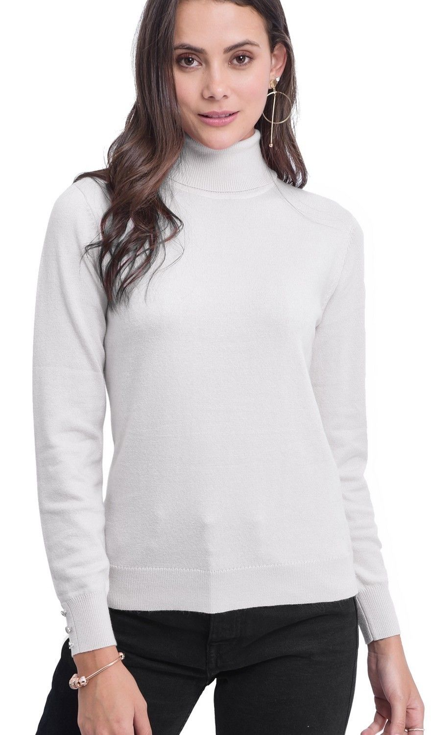 C&JO Turtleneck Sweater with Buttoned Sleeves in Natural