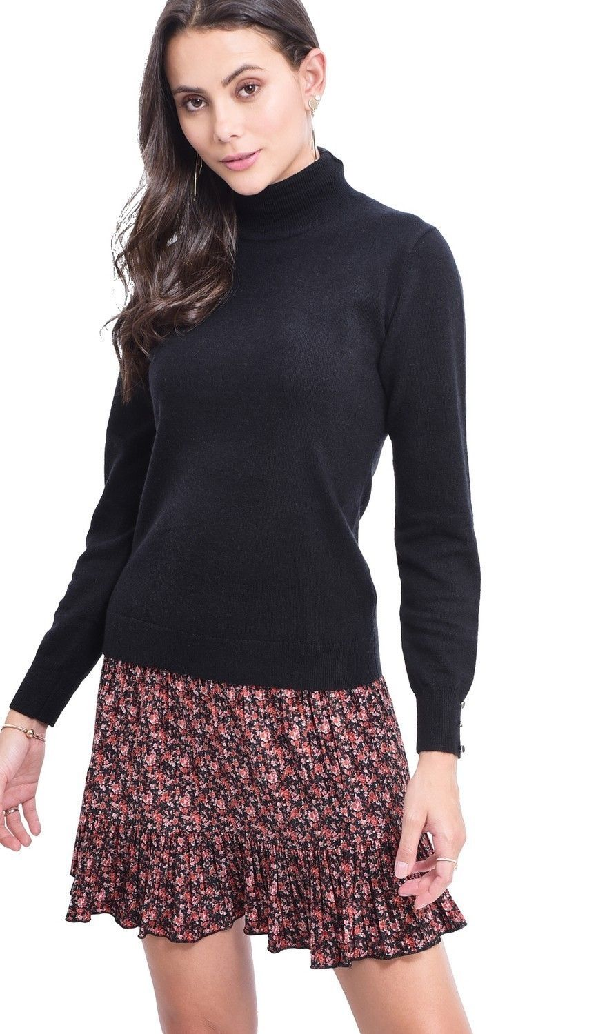 C&JO Turtleneck Sweater with Buttoned Sleeves in Black