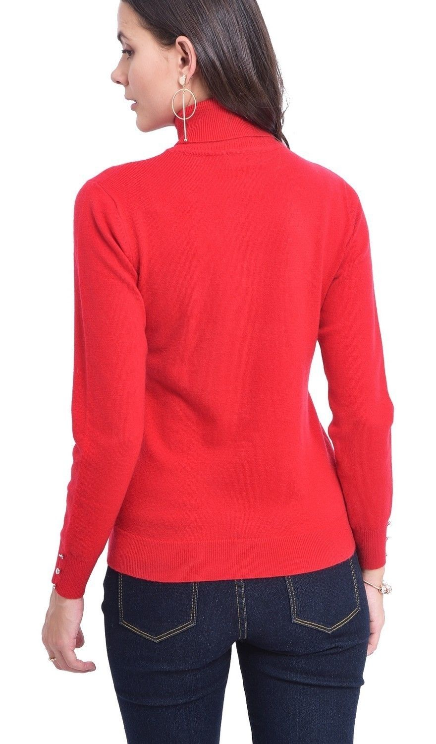 C&JO Turtleneck Sweater with Buttoned Sleeves in Red