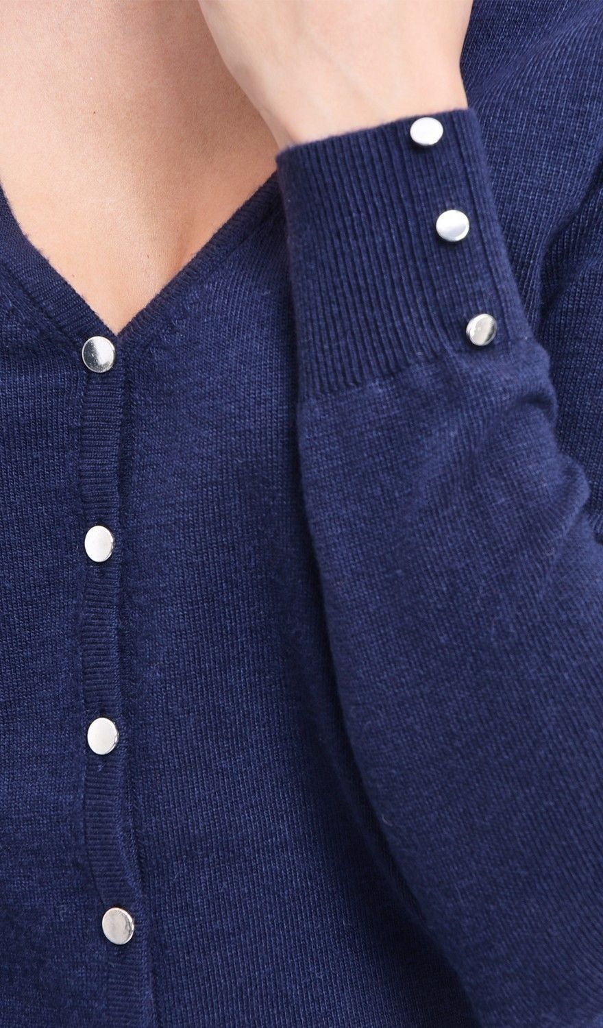 C&JO V-neck Cardigan with Silver Buttons in Navy