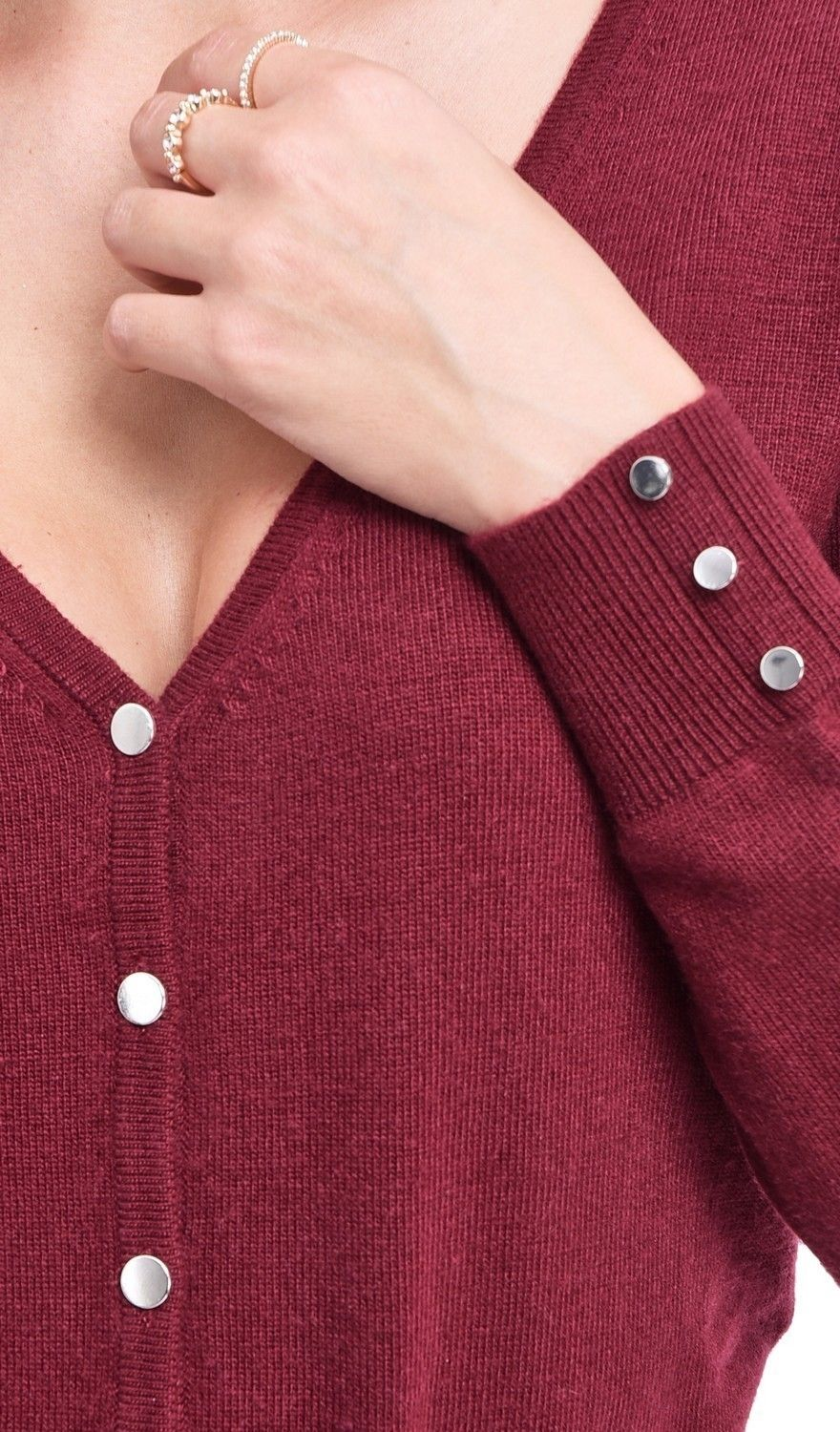 C&JO V-neck Cardigan with Silver Buttons in Maroon