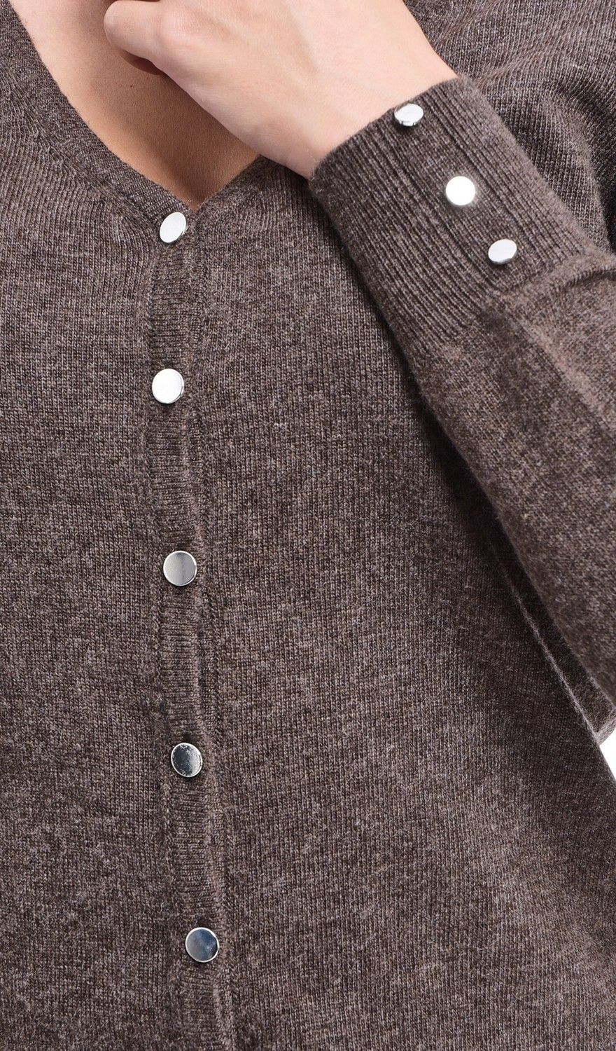 C&JO V-neck Cardigan with Silver Buttons in Brown
