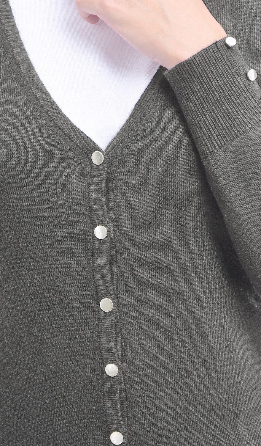 C&JO V-neck Cardigan with Silver Buttons in Grey
